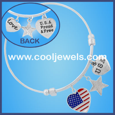American Flag Wire Bangle Bracelets