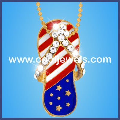American Flag Sandal Necklace