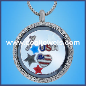 Round Rhinestone American Themed Necklaces