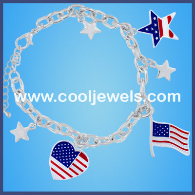 American Flag,Heart and Stars Bracelets