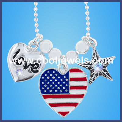 American Flag Heart Necklace