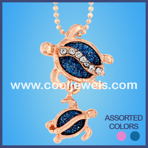 Rose Gold Glitter Glass Double Turtle Necklaces