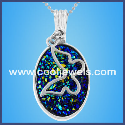 Butterfly Oval Stone Necklaces