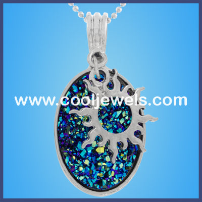 Sun Oval Stone Necklaces