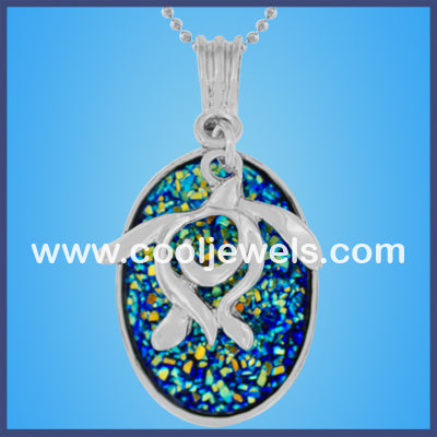 Turtle Oval Stone Necklaces