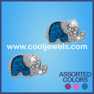 Elephant Glitter Glass Earrings