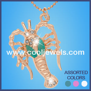 Rhinestone Lobster Glitter Glass Necklaces