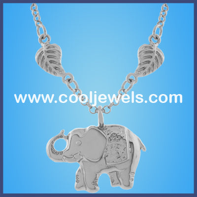 Silver Elephant Leaf Necklaces