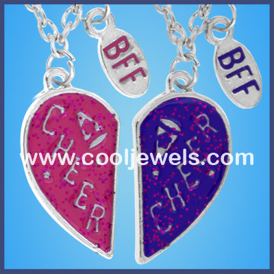 Heart Shaped BFF and Cheer Necklaces