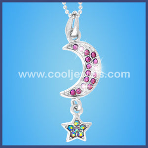 Rhinestone Moon and Star Necklace
