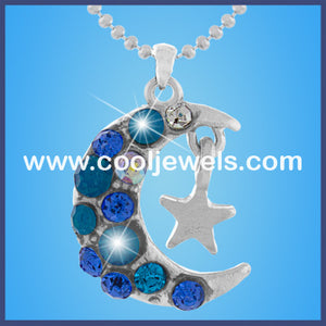 Rhinestone Moon and Star Necklaces