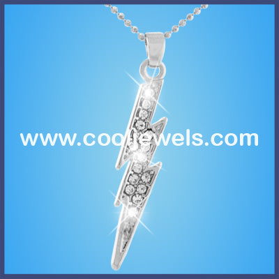 Rhinestone Lightning Bolt Necklaces