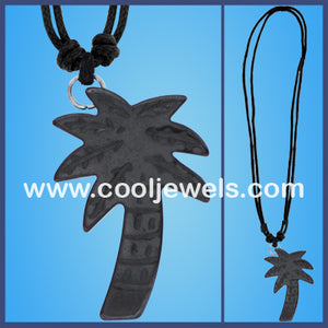 Hematite Palm Tree Cord Necklaces