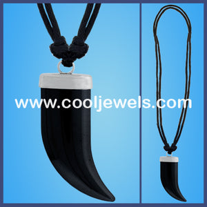 Hematite Tooth Cord Necklaces