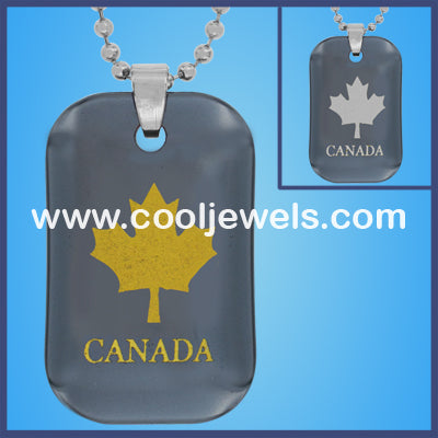 Hematite Leaf Canada Necklaces
