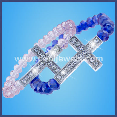 Crystal Beaded Rhinestone Cross Bracelets
