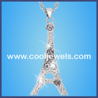 Rhinestone Eiffel Tower Necklace