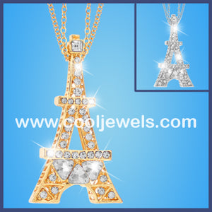 Rhinestone Eiffel Tower Double Chain Necklaces