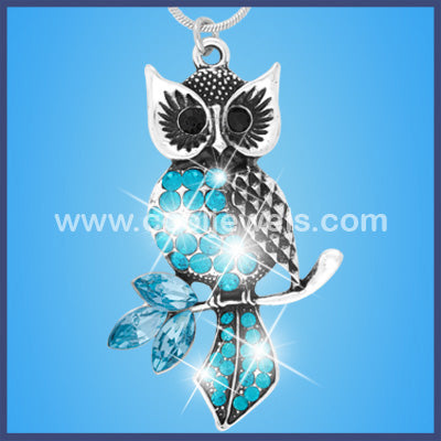 Rhinestone Owl Necklaces