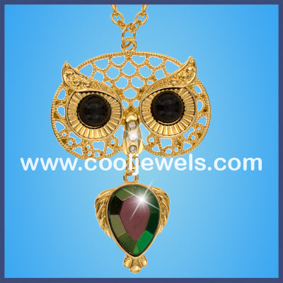 Gold Owl Faceted Colored Stone Necklaces