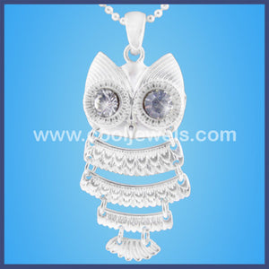Owl Necklace w/ Rhinestone Eyes