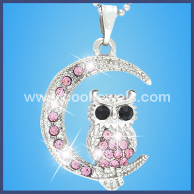 Colored Rhinestone Owl Moon Necklaces
