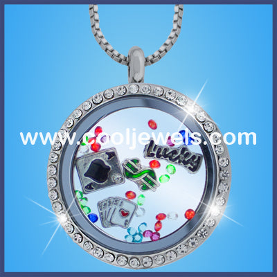 Round Rhinestone Gambling Necklaces
