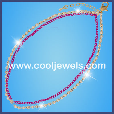 Rhinestone Double Chain Anklets