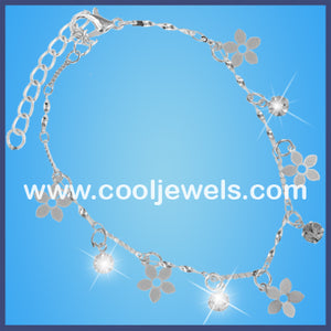 Silver Rhinestone Flowers Anklets