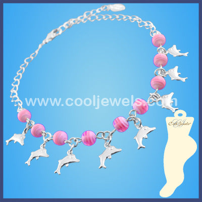Color Bead Anklet with Dolphin Charms
