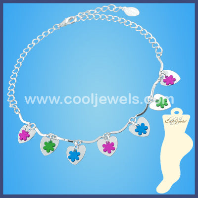 Heart and Flower Anklet