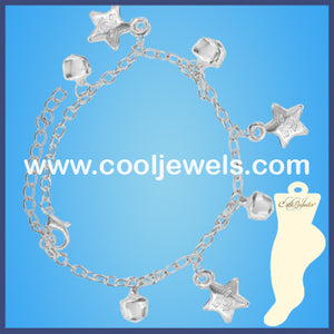Silver Star and Bells Anklets