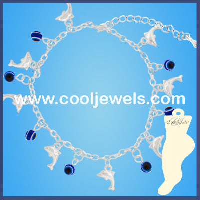 Blue Eye Bead Dolphin Anklets