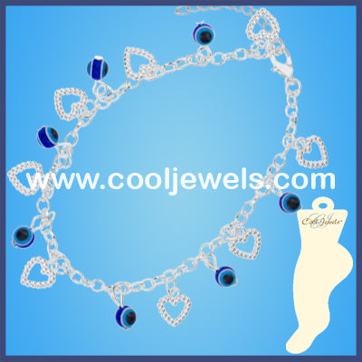 Blue Eye Bead Heart Anklets