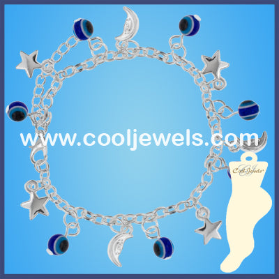 Evil Eyes Moon and Stars Anklets