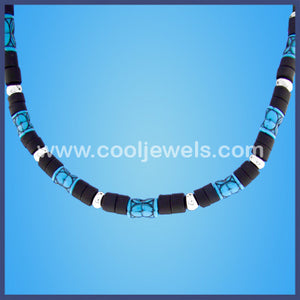 Blue & Black Industrial Necklace