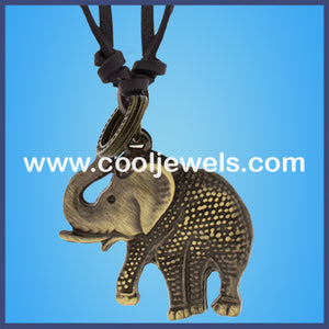 Leather Slider Elephant Necklaces