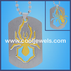 Stainless Steel Spider Cutout Dog Tag Necklaces