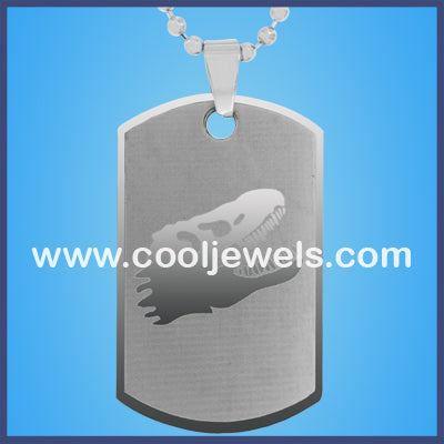 Stainless Steel Dinosaur Head Dog Tag Necklaces