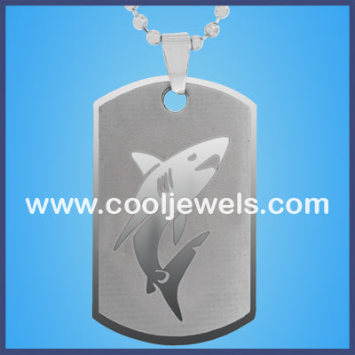 Stainless Steel Shark Dog Tag Necklaces