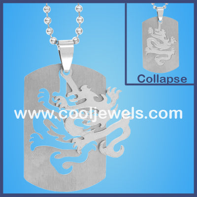 Stainless Steel Dragon Dog Tag Necklaces