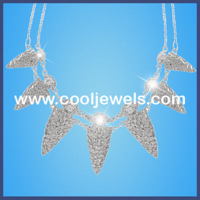 Silver Hammered Points Double Necklaces