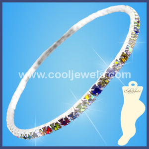 Multicolored Rhinestone Anklets
