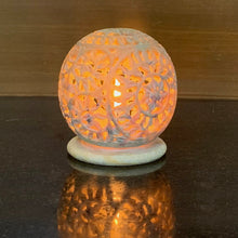 Load image into Gallery viewer, Marble Oval-Shaped Tea Light/Candle/Votive Holder/Oil Burner with Stand and Intricate Carved Foliage Mesh Work Pattern on All Sides