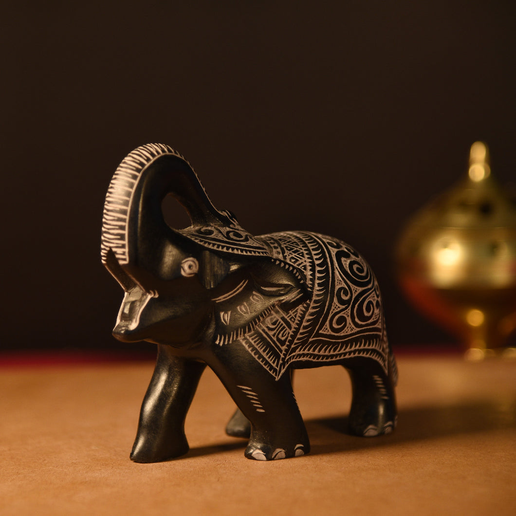BLACK LUCKY ELEPHANT SOAPSTONE