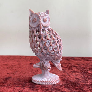 Owl/Fengshui Soapstone Handicraft Statue - Home Decor Showpiece | Undercut with fine Carving Work