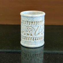 Load image into Gallery viewer, Soapstone Tealight Candle Holder with Intricate Tendril Openwork and Floral Pattern