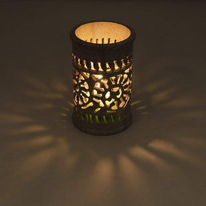 Soapstone Tealight Candle Holder with Intricate Tendril Openwork and Floral Pattern
