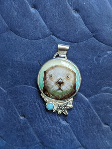Sea Otter face with Amazonite Version 1