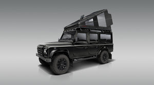 The Redtail Overland Hard Sided Roof Top Camper (RTC). The World's first hard-sided rooftop tent. Shown on Land Rover Defender 110